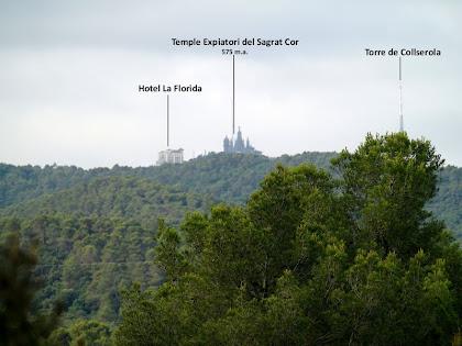 Panoràmica del Tibidabo i la Torre de Collserola des de la baixada del Puig de la Guàrdia