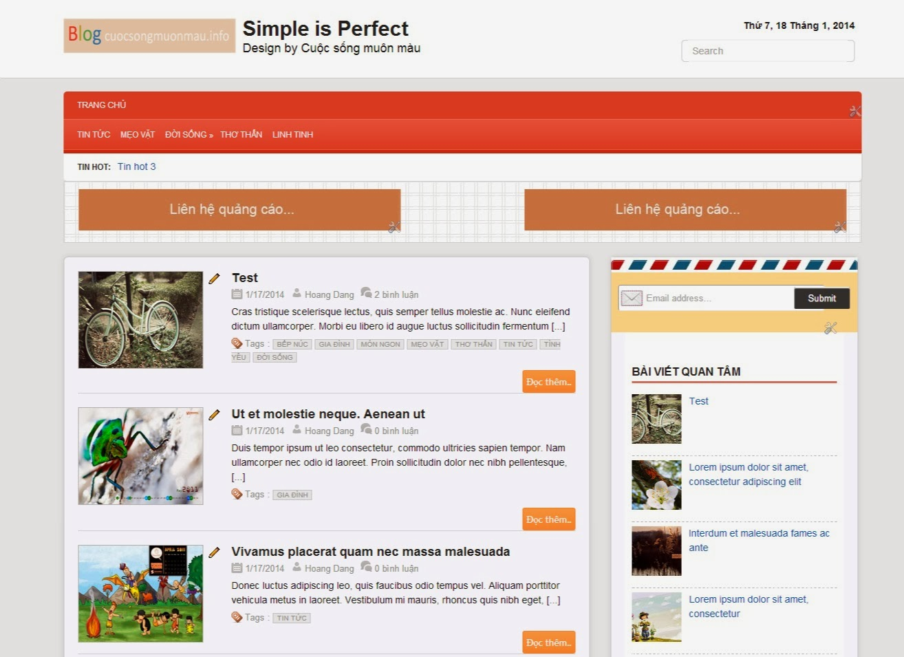 Template blogspot Responsive chuẩn Seo - Simple is perfect