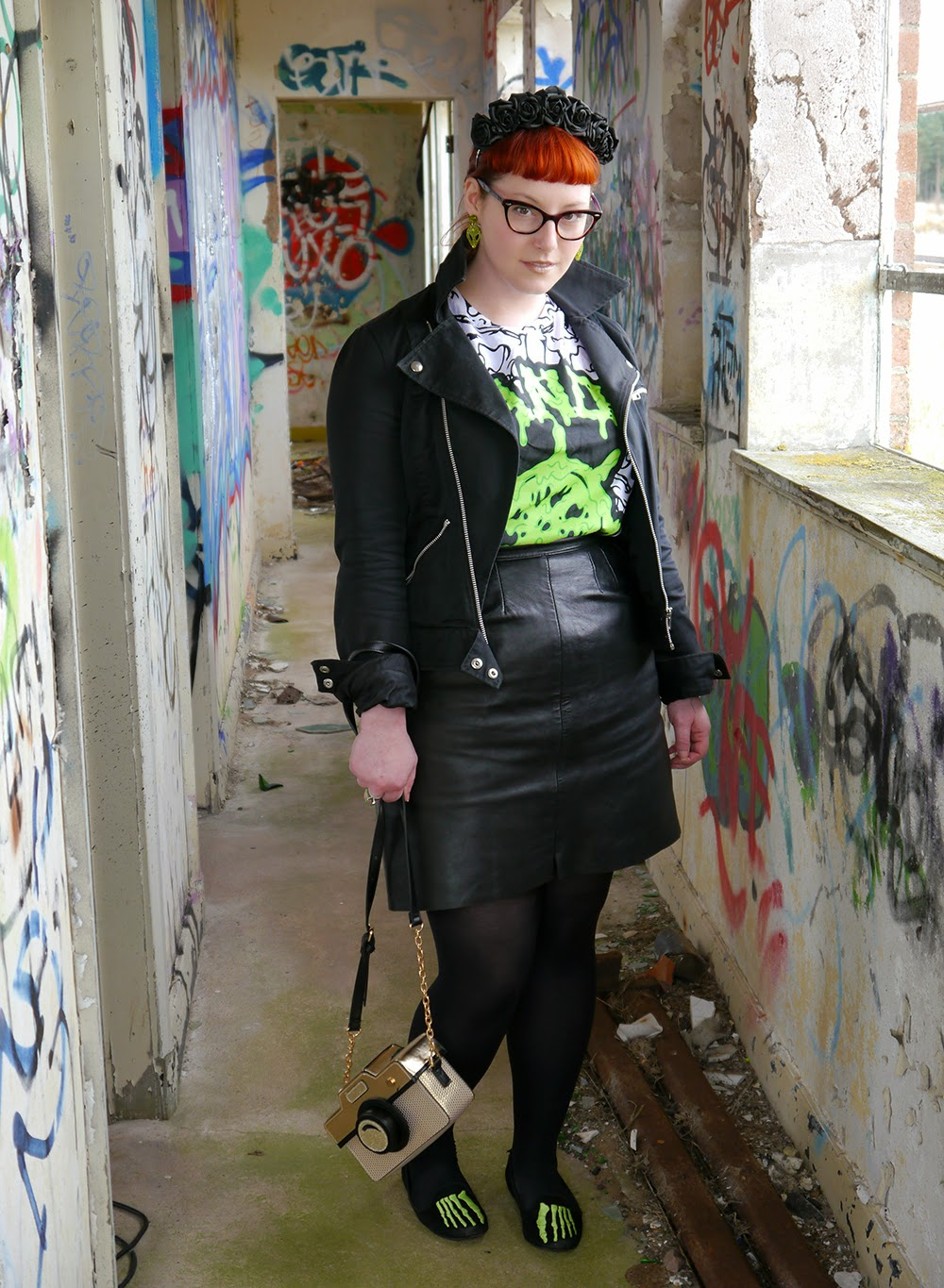 Styled by Helen, space style, scottish blogger, red head, ginger, Abandon Ship, Abandon Ship Apparel, slim tshirt, H&M biker jacekt, Sugar and Vice, Sugar & Vice, Alien earrings, alien style, outerspace styling, Carnabys, vintage leather skirt, Youth Rise Up, skeleton slippers, skeleton shoes, bone shoes, Accessorize, camera shaped bag