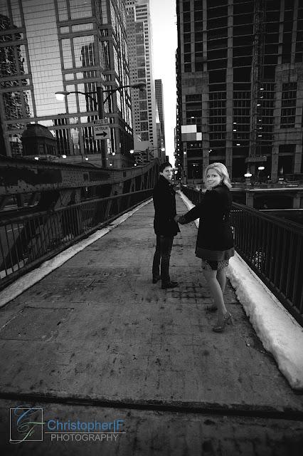 Chicago Night Engagement Photo River Bridge