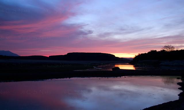 Río Tiétar al amanecer. Cola del embalse de Rosarito