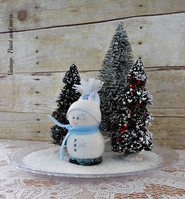 "Vintage, Paint and more... DIY'd wooden snowman in a ""faux"" snow scene with bottle brush trees"