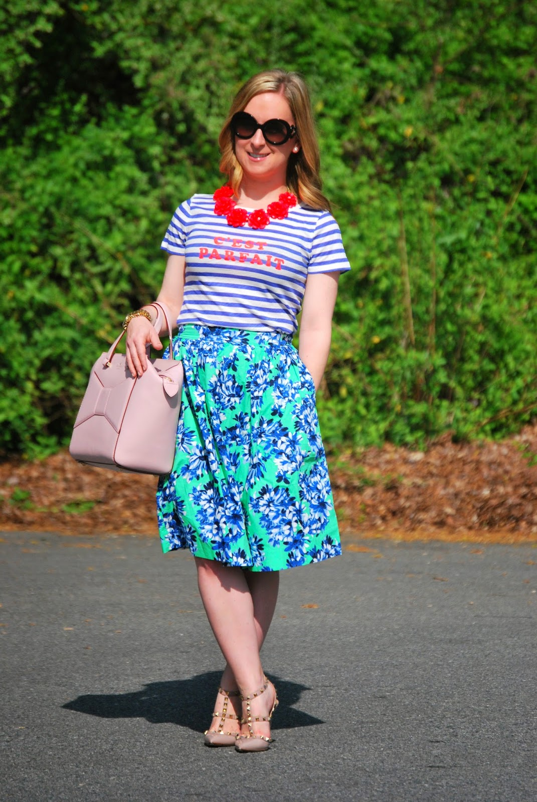 Jcrew, optic floral, Kate Spade, Beau bag, Valentino, rockstuds, prada