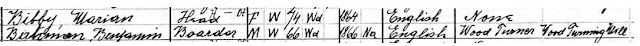 1910 US census snip showing Benjamin Bateman as the Boarder in the house of Marion Bibby a 74 year old Widow.