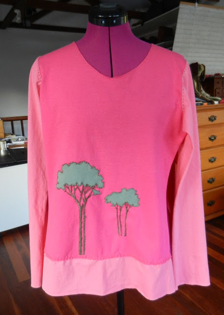 pink refashioned t-shirt, Alabama Chanin style
