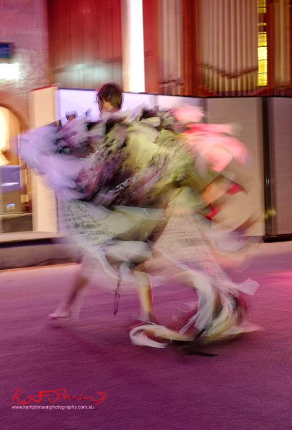Plastic bag couture cape in motion, Raw to Recycled by Dehautt - Photographed by Kent Johnson.