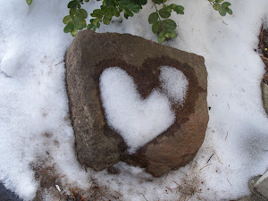 This is real...the snow melted in a heart shape on this rock in front of my house!