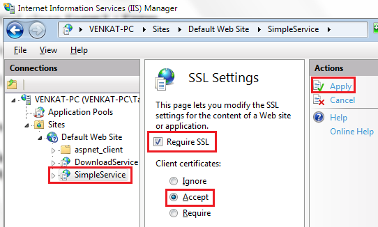 configuring SSL settings in iis