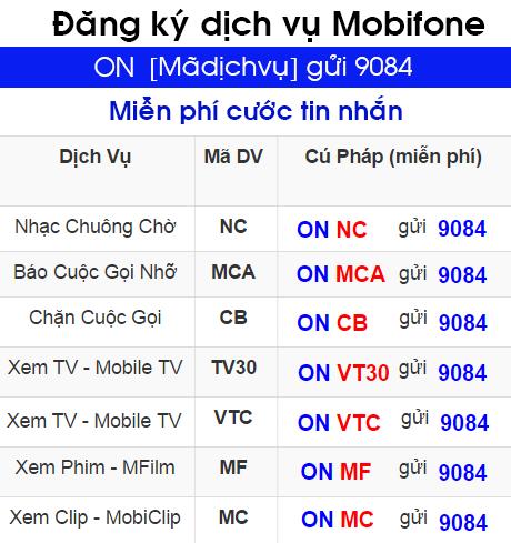 Đăng ký dịch vụ giá trị gia tăng của Mobifone