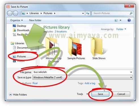 Gambar:  Cara memilih dan memberikan nama file dari gambar yang ada di slide microsoft powerpoint