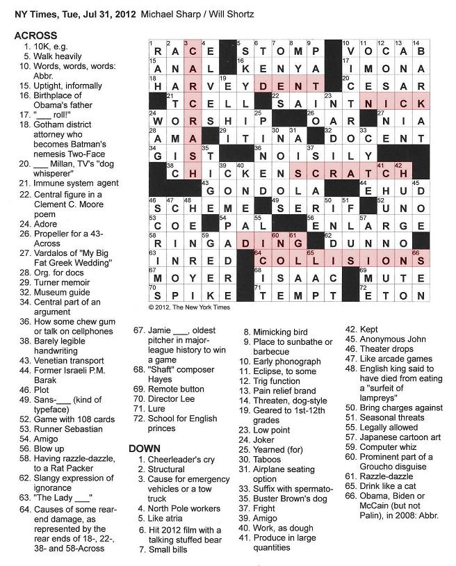 The new york times crossword in gothic july 2012 click on image to enlarge malvernweather Images