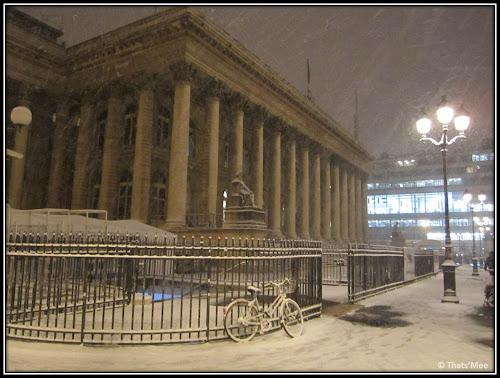 Paris sous la neige palais Brongniart Bourse