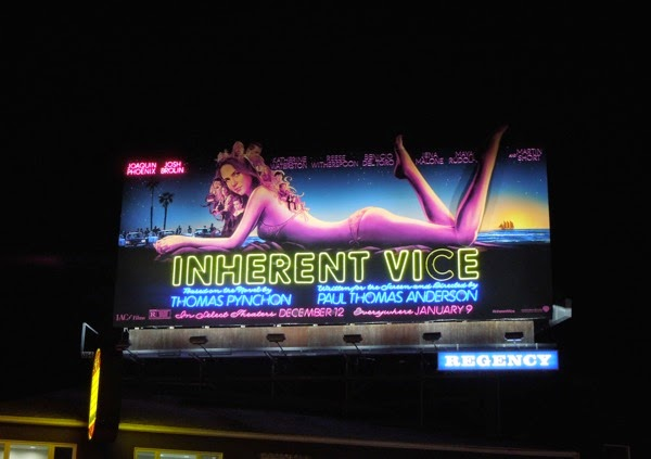 Inherent Vice neon movie billboard night