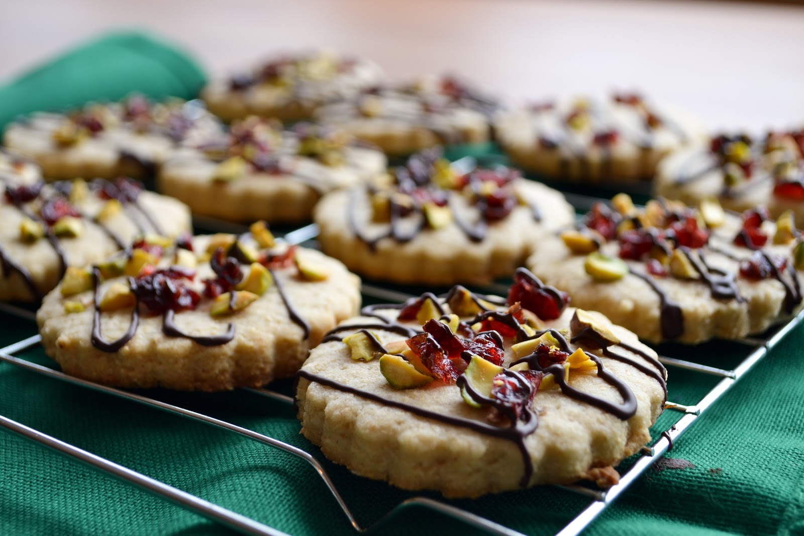 Chocolate Drizzled Cranberry Pistachio Cookies - She Bakes Here