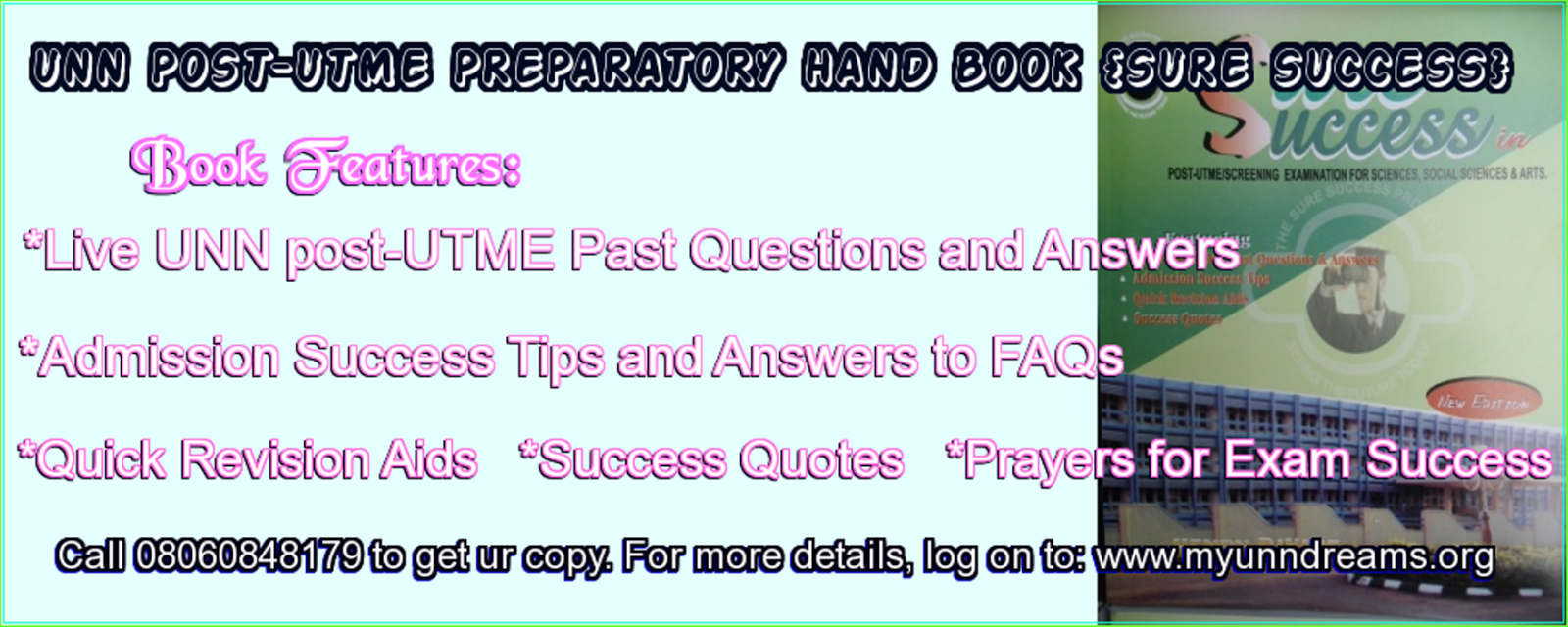 UNN POST-UTME/UME/SCREENING PAST QUESTIONS AND ANSWERS (SURE1600
