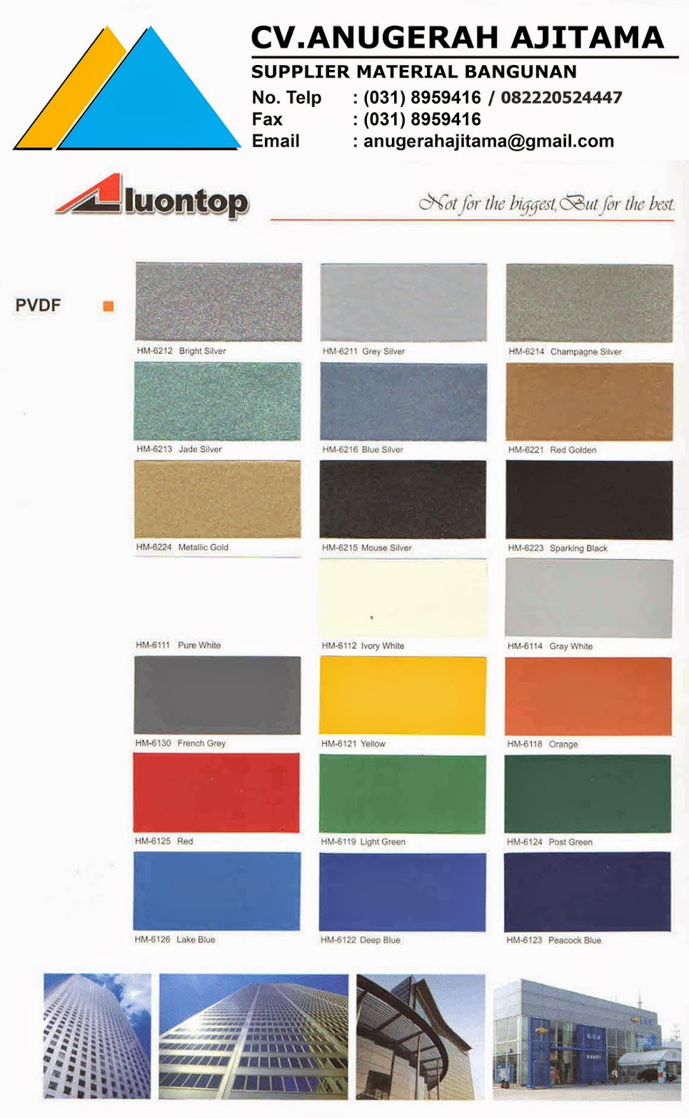 WARNA ALUMINIUM COMPOSITE PANEL ALUONTOP