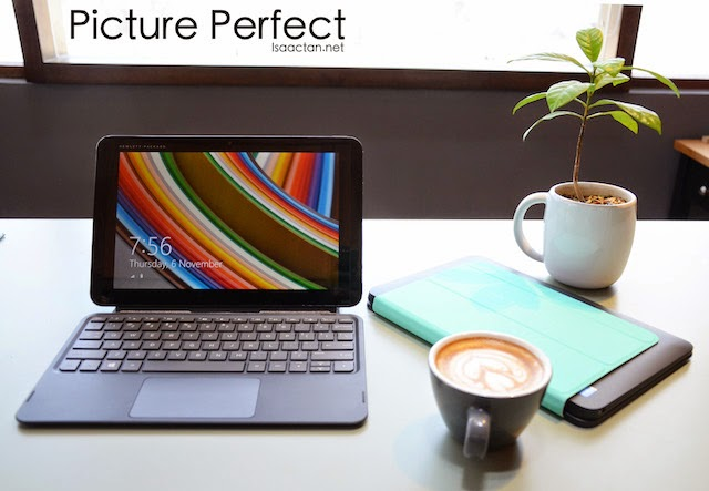 Picture perfect, shown here with the Turquoise blue cover HP Pavilion x2