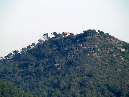 El Montpedrós amb l'ermita de Sant Antoni al seu cim des del Camí de Can Cartró