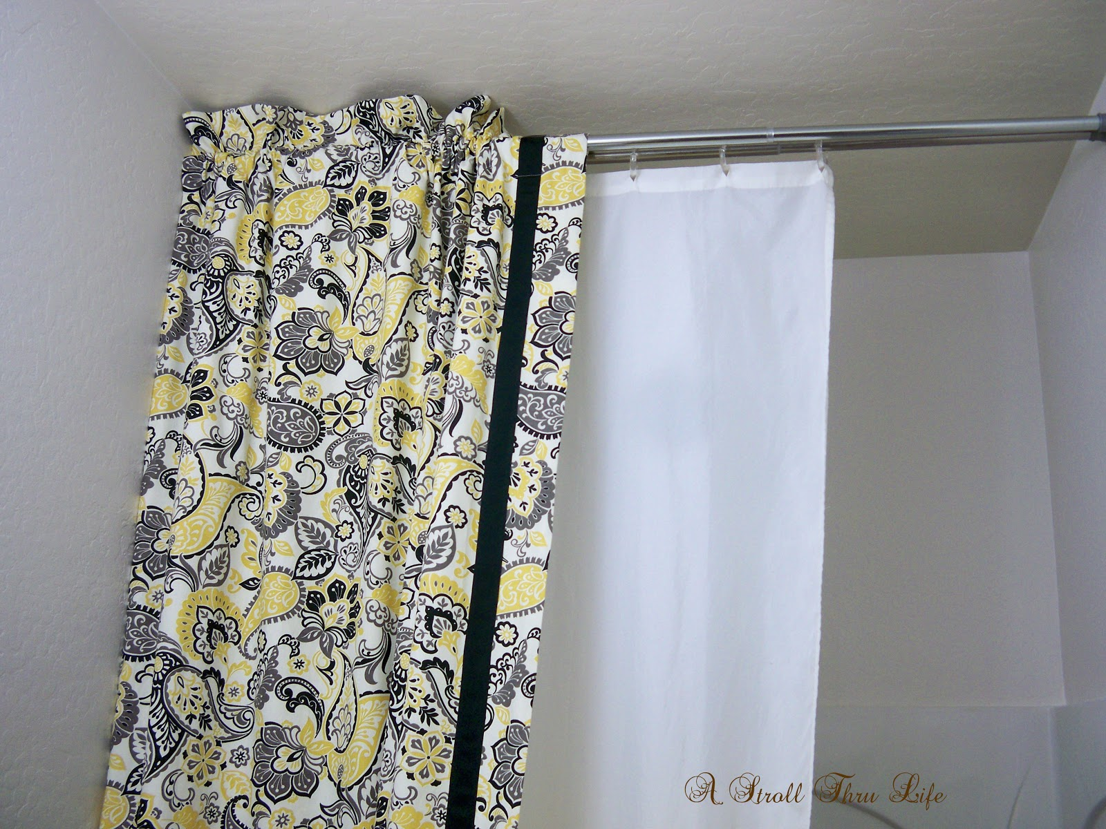 A Stroll Thru Life: DIY Double Shower Curtain & Liner Tutorial