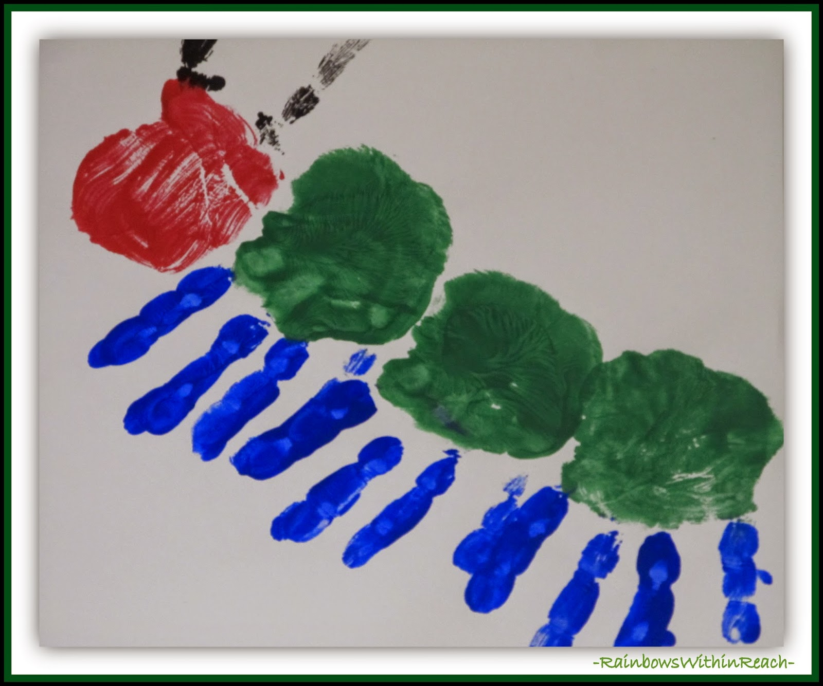 "Painted Hand Prints become ""Very Hungry Caterpillar"" {Painted Hand/Foot RoundUP at RainbowsWithinReach}"