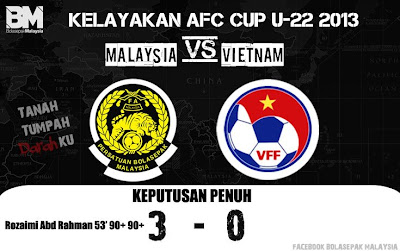 Keputusan Malaysia Vs Vietnam 30 Jun 2012 | Kelayakan Piala Asia (AFC) U22 2013