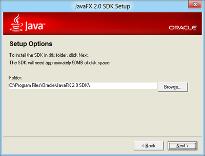 Accept the JavaFx 2.0 SDK installation director