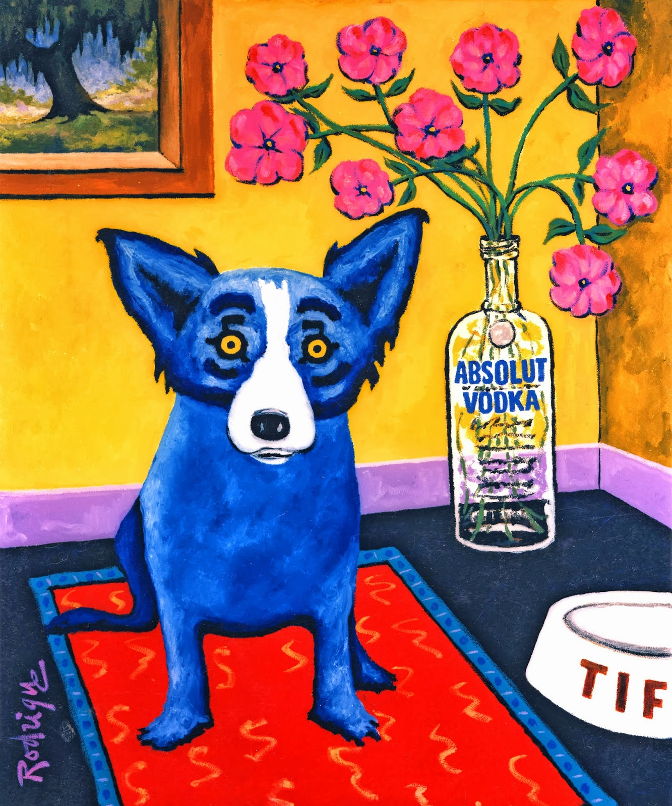 Musings of an artist 39 s wife absolut blue dog for Dog painting artist