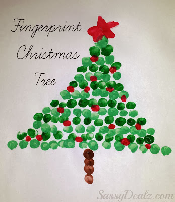 christmas fingerprint crafts for kids tree