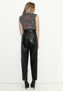 Vintage 1980's high waisted black leather pants.