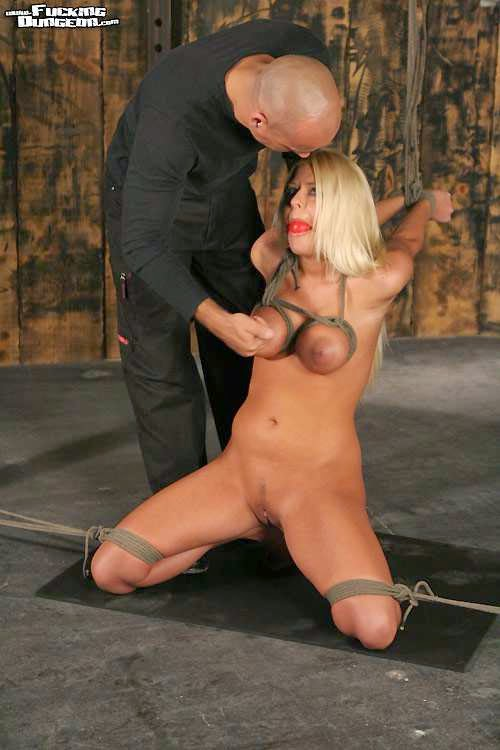 blond girl tied and nipple play