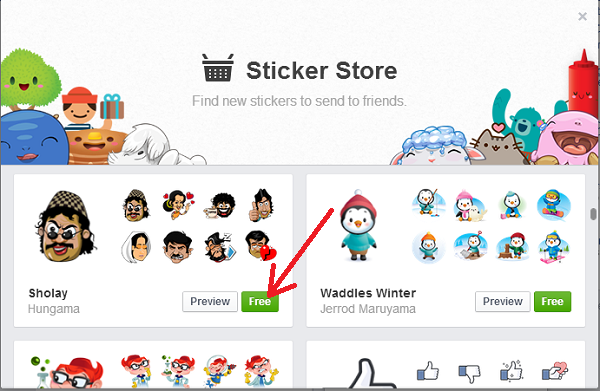 facebook chat sticker store