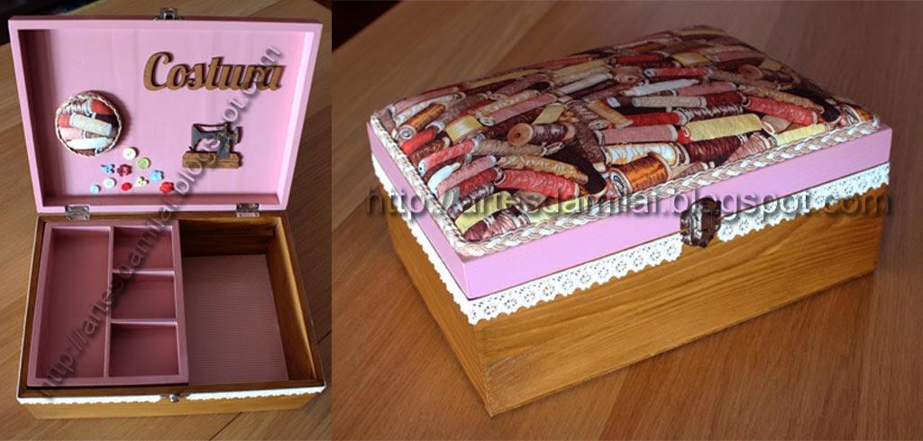 Caixa de costura com estofamento em tecido