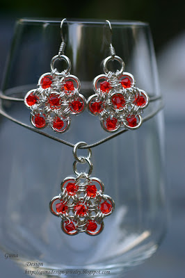 gunadesign Japanese 12-2 chainmaille flower with Swaroski crystals.