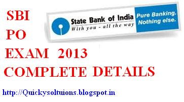 SBI PO Exam 2013 complete details – SBI Ban notification for the 1544 PO post ?