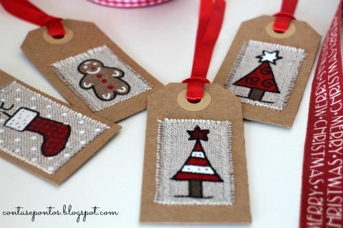 Postais e etiquetas de Natal em tecido