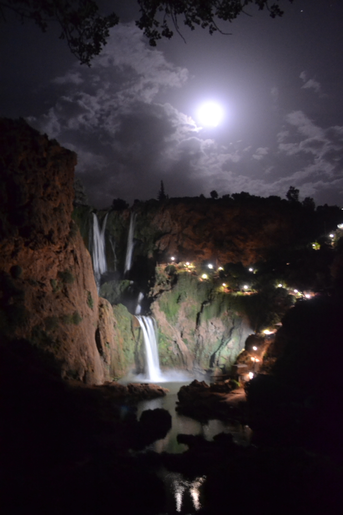 Cascades d'Ouzoud Ouzoud Waterfall Morocco at night full moon