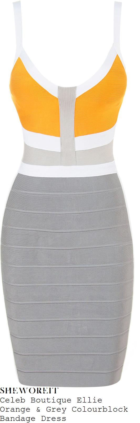 charlotte-crosby-orange-white-and-grey-bandage-dress-geordie-shore