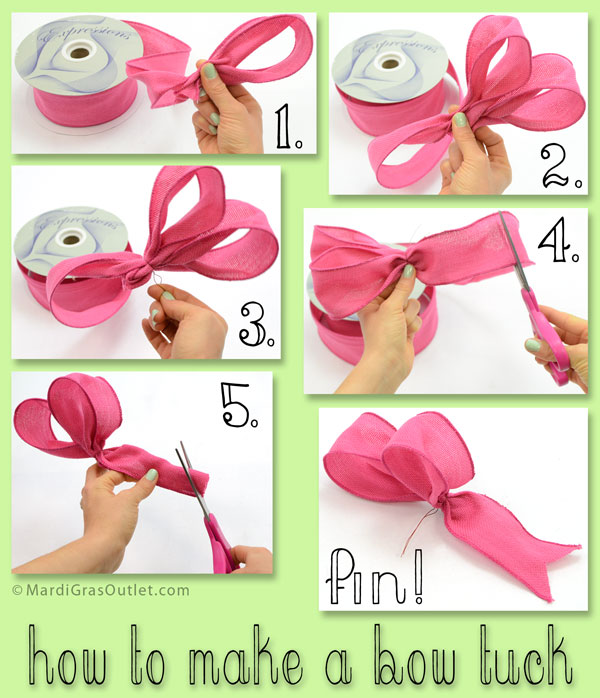 Step-by-Step Tutorial on how to make a Bow Tuck for Wreaths and Decor: MardiGrasOutlet.com