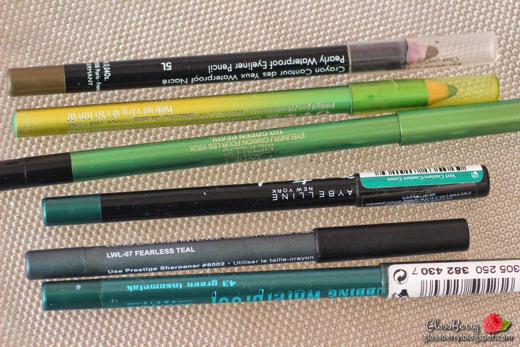 Makeup Forever 5L -  סדרת העפרונות הקלאסיים של MUFE מצטיינת בקשת רחבה של גבנים, מריחה נהדרת ועמידות גבוהה. גם כאן מדובר בעפרון waterproof ששורד שעות רבות. הגוון הוא חאקי ירקרק, שמאוד מחמיא לעיני דבש ועיניים ירוקות.     Bourjois Effet Duochrome - Tilleul  Dore - עפרון מהסדרה הדואוכרומית של בורז'ואה. מדובר בעפרון בעל שני צבעים, שהגוון משתנה לפי הצורה שהאור פוגע בצבע. מדובר בצבע ירוק בהיר-זהוב, שמריחה מתקבל יותר לכיוון הירוק, אבל בשמש ניתן להבחין גם בברק זהוב. כמו כל העפרונות של בורז'ואה, נמרח בקלות ובעל פיגמנט מצויין.  GA-DE Metallic - Green Pearl 103 -עוד עפרון מהסדרה החדשה יחסית של ג'ייד, עם הגוון הספציפי הזה יש להשקיע יותר מאמץ בשביל לקבל פיגמנט טוב, אבל העפרון מאוד עמיד ובעל צבע יפהפה.  Maybelline Master Drama - Couture Green - הפתעת השנה  מבחינתי. לא חשבתי בכלל לנסות את העפרונות של מייבילין, אבל קניתי את הגוון הזה במסגרת מבצע כלשהו ונפלה לי הלסת. עפרון פשוט מושלם שעובר בעמידות ובפיגמנט יקרים ומיוחסים ממנו. הגוון הזה הוא גוון ירוק-יער מושלם, עמיד בטירוף, נמרח כמו חמאה! מומלץ בחום  Prestige Total Intensity - Fearless Teal- עפרון מהסדרה המצויינת של פרסטיז' האמריקאים. עפרון מאוד מאוד עמיד, אבל בניגוד לשמו - אין בו טיפה של טורקיז והוא למעשה שחור מושחר.ניתן לרכוש ברשת.  Bourjois - Clubbing Waterproof - 43 Green Insomniak