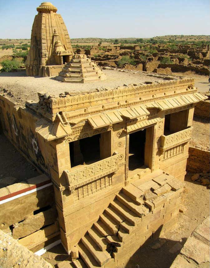 Magnificient temple in Kuldhara displaying the cultural wealth of the Paliwal Brahmins