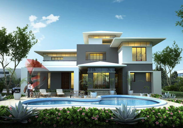3d architectural exterior view,3d architecture animation