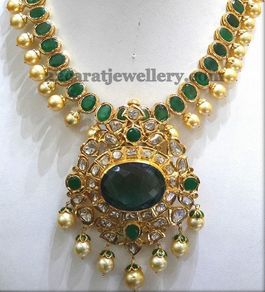 Emerald Necklace with South Pearls