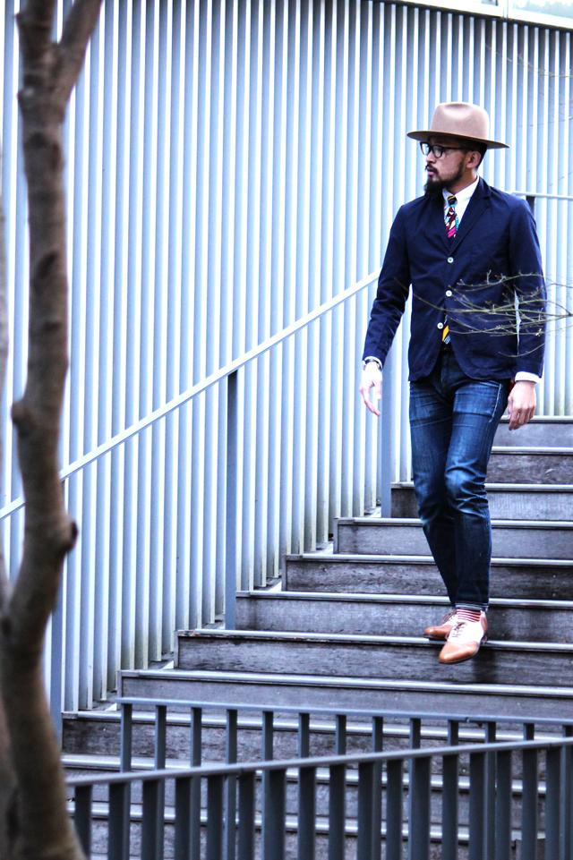 """Monitaly """"Easy Blazer"""" size 36 30,240yen Monitaly """"Tie"""" 12,960yen"""