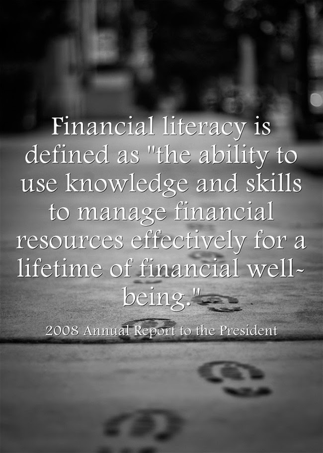 Picture of financial literacy quote