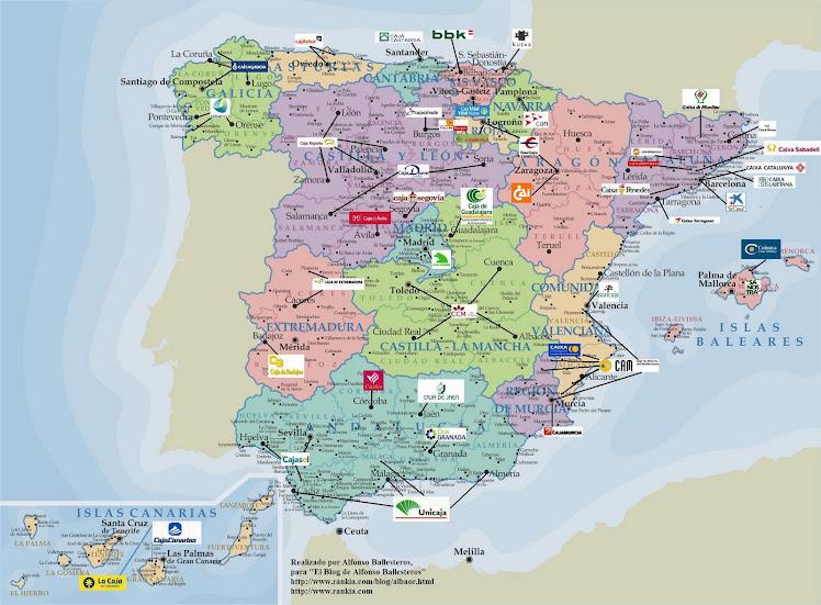MAPA DE LAS CAJAS EN ESPAÑA