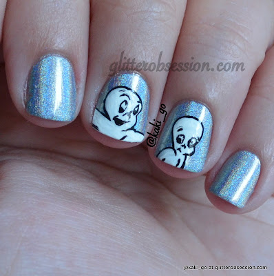 halloween nail art, ghost nail art, casper nail art