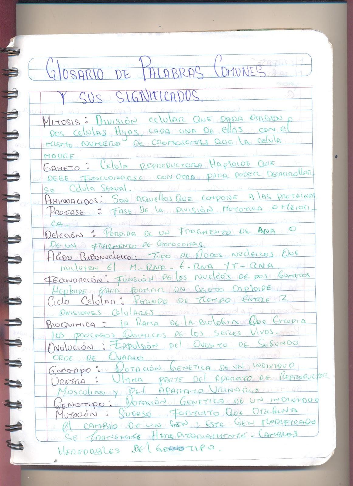 glosario de biologia: