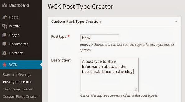 Custom post type creation dialogue box