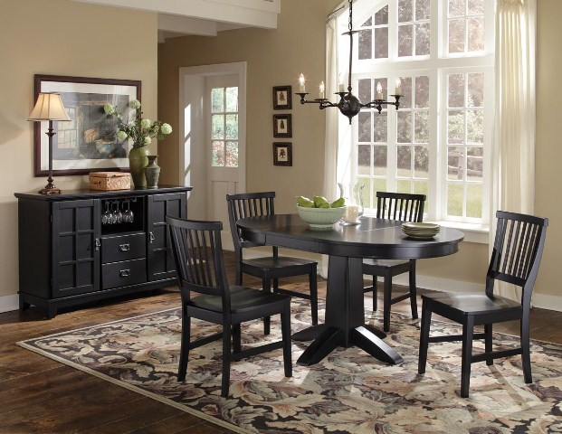 Home Styles Arts & Crafts Five Piece Dining Set Black Finish