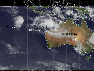 CICLON RUSTY TOCO TIERRA EN LA COSTA OCCIDENTAL DE AUSTRALIA 27 de Febrero 2013